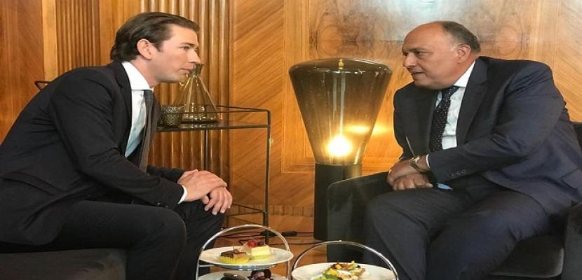مستشار النمسا يستقبل سامح شكري في فيينا