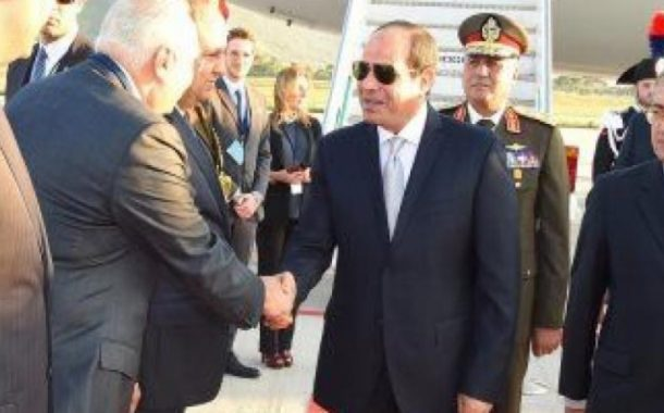 """وصول الرئيس السيسى إلى مطار باليرمو للمشاركة بقمة """"الملف الليبى"""""""