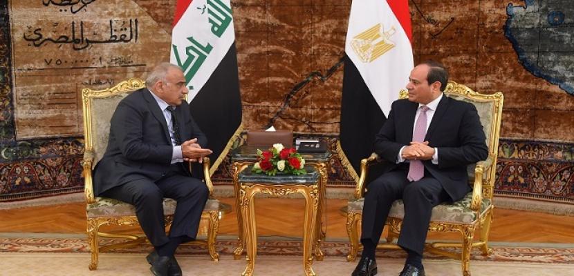 الرئيس السيسى يبحث مع رئيس وزراء العراق تعزيز العلاقات الثنائية