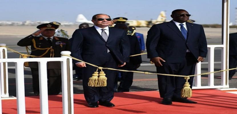 بدء جلسة مباحثات بين الرئيس السيسي ونظيره السنغالي في داكار