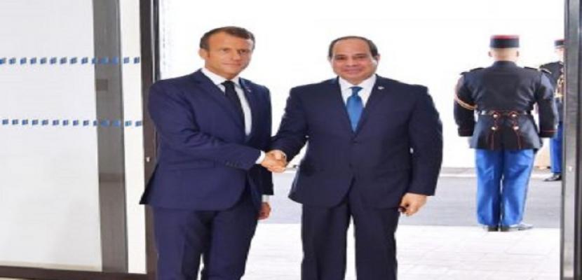 الرئيسان السيسي وماكرون يتفقان على مواصلة الجهود لتسوية الأوضاع في ليبيا