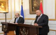 خلال مؤتمر صحفي مشترك.. شكري ونظيره الفرنسي يؤكدان عمق العلاقات المصرية الفرنسية في شتى المجالات