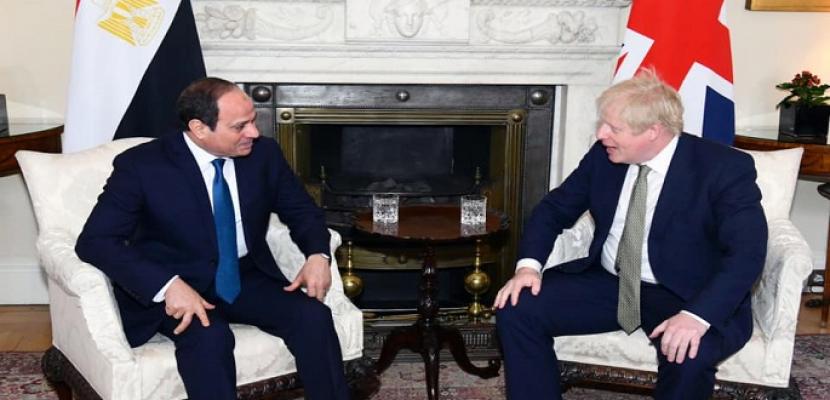 السيسي يؤكد لجونسون تطلع مصر لتعظيم التعاون وتعزيز التنسيق السياسي والأمني مع بريطانيا خلال الفترة المقبلة