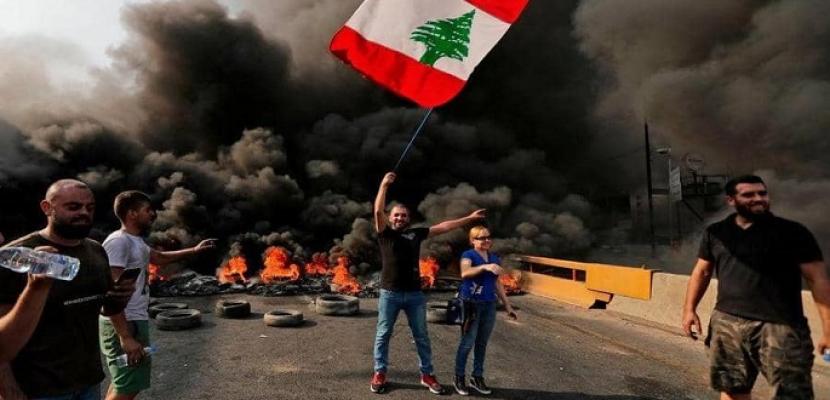 """محتجو لبنان يواصلون قطع الطرق فى ثانى أيام """"أسبوع الغضب"""""""