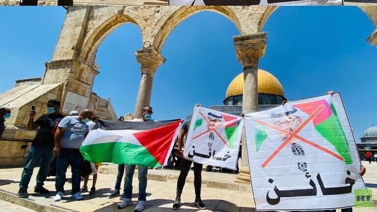 احتجاج في المسجد الأقصى رفضا لاتفاق السلام بين الإمارات وإسرائيل