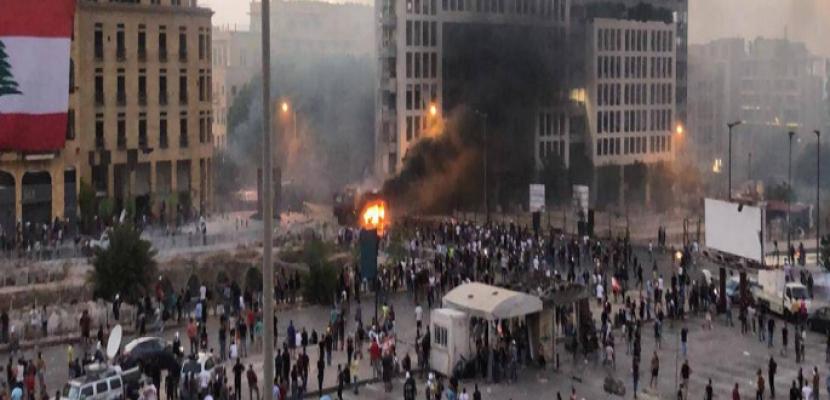 مواجهات عنيفة بين المتظاهرين اللبنانيين وقوى الأمن بوسط بيروت