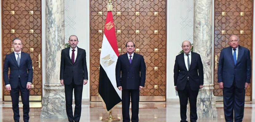 """الرئيس السيسي يبحث مع """"مجموعة ميونخ"""" جهود دعم مسار عملية السلام بالشرق الأوسط"""