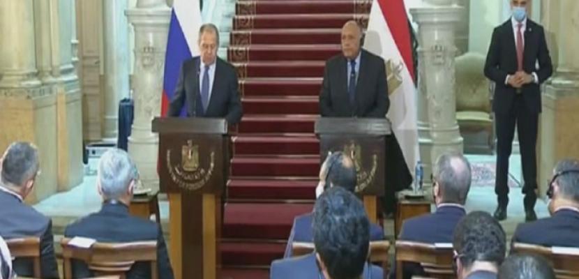 """شكري ولافروف يؤكدان عمق العلاقات بين البلدين وتحديد موعد اجتماعات """"٢+٢"""" قريبا"""