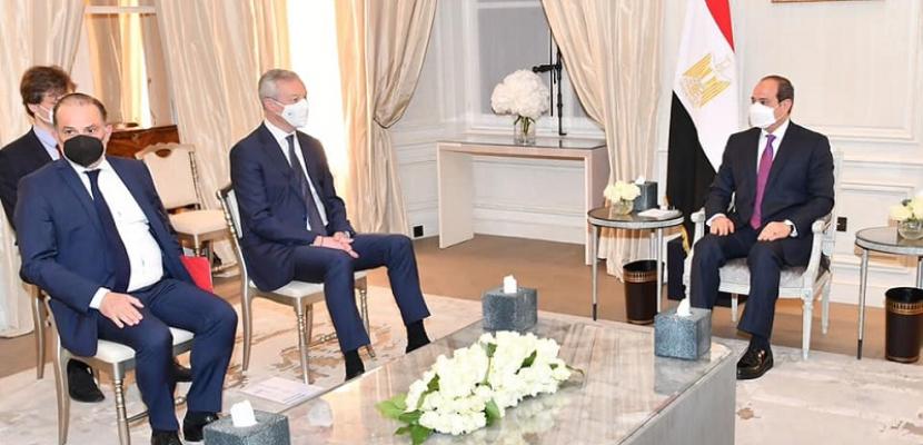 الرئيس السيسي يبحث مع وزير المالية الفرنسى آفاق تعظيم الاستثمارات الفرنسية في مصر