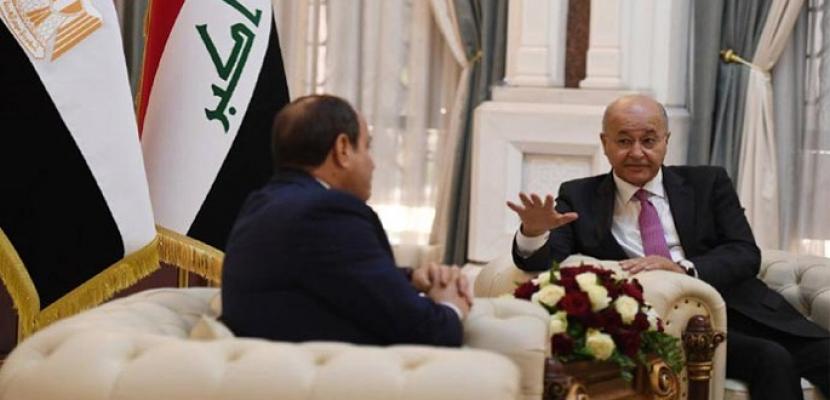 الرئيس العراقي يستقبل الرئيس السيسي ويستعرضان العلاقات الثنائية المشتركة