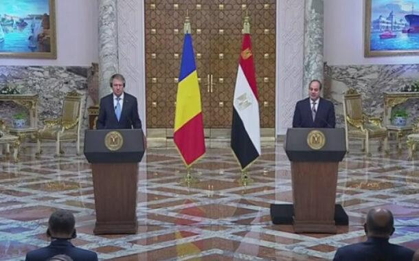 بالفيديو… خلال مؤتمر صحفي مشترك مع رئيس رومانيا .. الرئيس السيسي يؤكد حرص مصر على تطوير العلاقات الثنائية